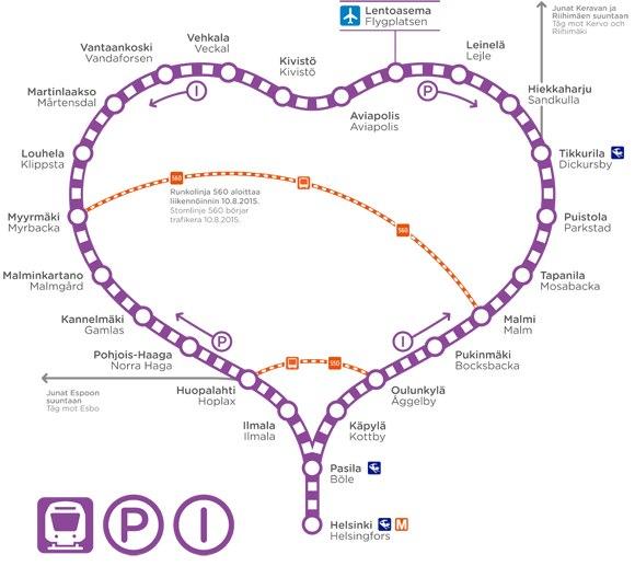 Схема движения электричек P и I