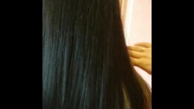 Коррекция нарощенных волос Наращивание челки Добавили светлые пряди