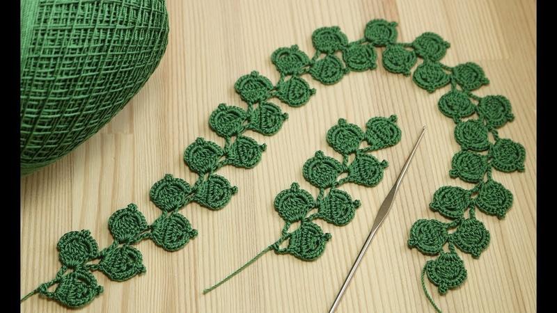 Ленточное кружево - веточка листиков - вязание крючком