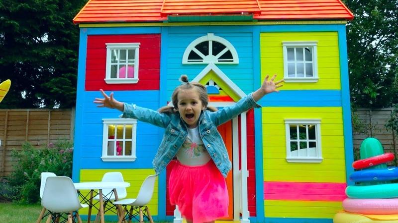 8 000 000 РАЗЫГРАЛИ КАТЮ и ставим мебель в 2 этажный DYI домик для детей CUPS PRANK for Miss Katy