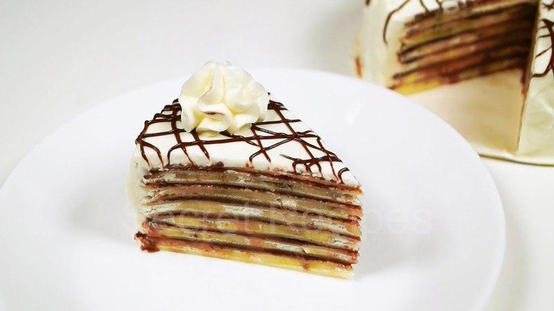 БОМБЕЗНЫЙ ТОРТ С НУТЕЛЛОЙ И БАНАНАМИ. Торт из блинчиков | Nutella banana crepe cake