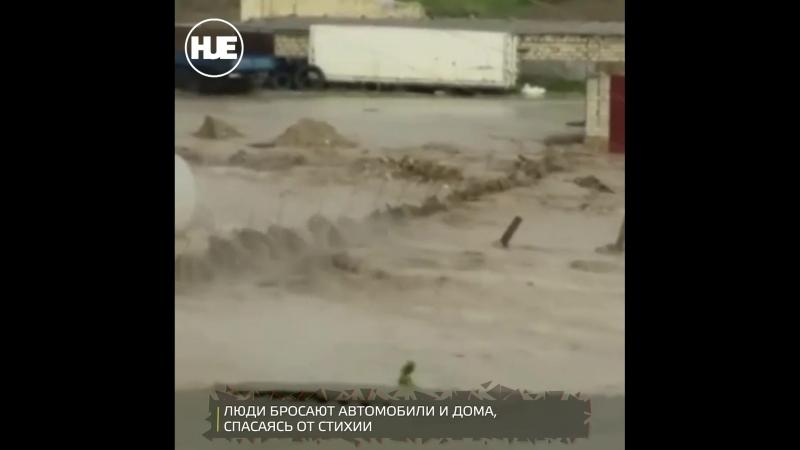 После ливня и града улицы в Дагестане превратились в реки