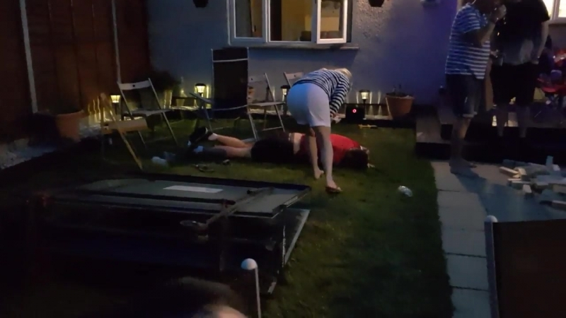 Lad gets folded in a table tennis table