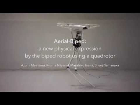 Aerial-Biped a new physical expression by the biped robot using a quadrotor