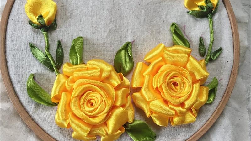 D.I.Y Handmade Yellow Ribbon Embroidery Rosa Hướng dẫn thêu ruy băng hoa hồng