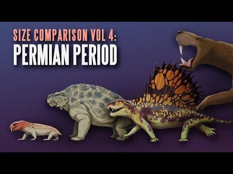PERMIAN CREATURES Size Comparison. Paleoart