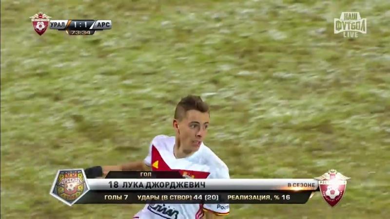 Гол №20 Лука Джорджевич(7) Урал - Арсенал 08.12.17г.