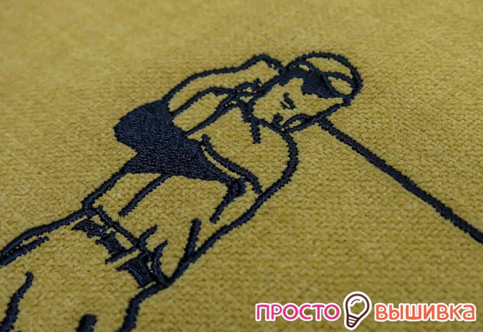 Вышивка контуром на подушке