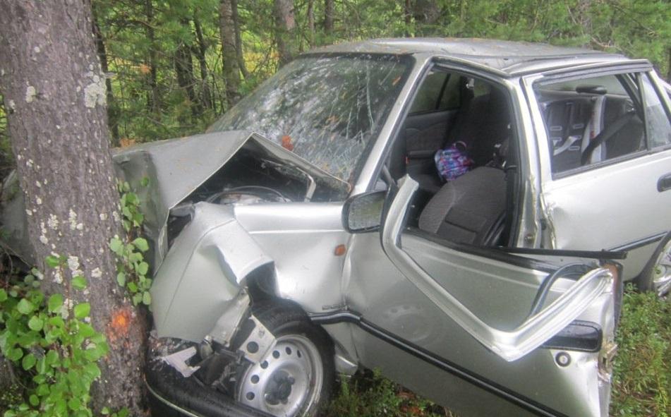 В Курджиново автомобиль врезался в дерево