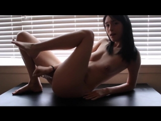 Fucking my cute pussy with a glass toy