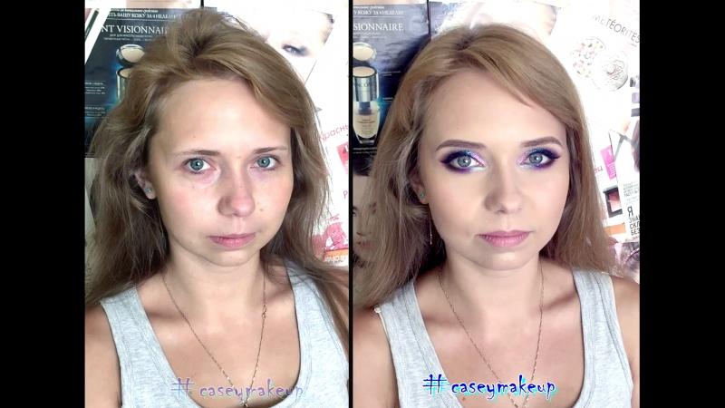 Ксения Саватеева. Переливающиеся цветные смоки айз (до и после)