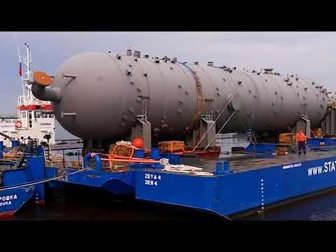 Гигантский груз Многотонное оборудование для Амурского ГПЗ сплавляют по Зее