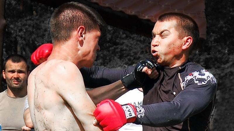 Бой школьник кикбоксер против мужика зожника / Дрался до конца