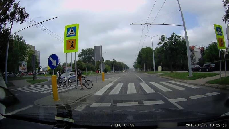 Przejście dla pieszych, rowerzyści i Policja )