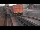 Работа толкателя вагонов