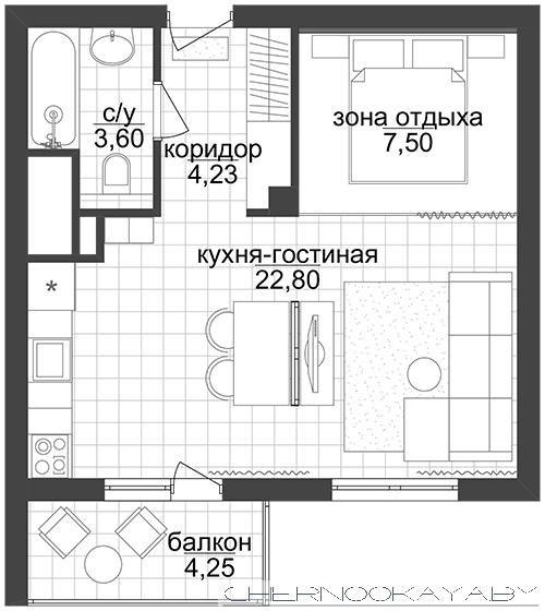 Проект студии 38 м (42 м с балконом) под лофт.