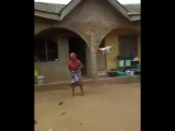 African women first time seeing drone flying