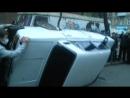 Одесса. 13 апреля, 2014. Возле офиса Свободы перевернули машину с бандеро флагом.