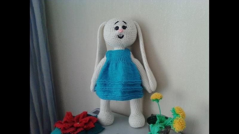 Зайка Няша платье ч 3 Bunny Nyasha dress р 3 Amigurumi Crochet Амигуруми