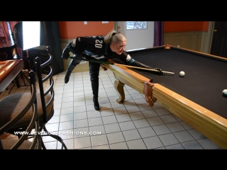 PLAYING POOL IN LEATHER THIGH BOOTS AND EAGLES JERSEY BEFORE THE SUPER BOWL