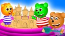 Gummy Bear building sand castle Finger family song for Kids | Gummy bear Funny