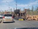Лесовоз опрокинулся на Усть Илимском кольце в Энергетике