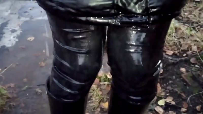 Girl in wet rubber boots with high heels and wet jeans in deep water (3) MOV 013
