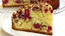Бисквитный пирог на сметане с малиной и орехами