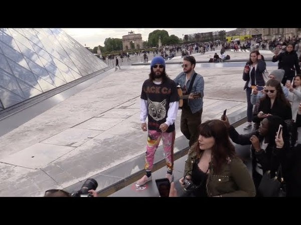 Jared Leto and Thirty Seconds to Mars arrive at the Louvre in Paris