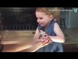 Реакция маленькой девочки на цыплёнка
