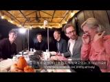 Том Хиддлстон, Пом Клементьефф, Том Холланд и Бенедикт Камбербэтч пробуют корейскую кухню.