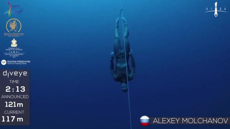 Freedive to 121m Alexey Molchanov AIDA WC 2017