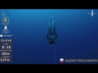 Freedive to 121m, Alexey Molchanov, AIDA WC 2017