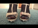 legs in black nylon pantyhose and in high-heeled sandals young bbw