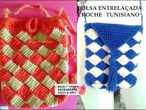 BOLSA ENTRELAÇADA DE CROCHE TUNISIANO COM AGULHA CROCHE TUTORIAL MARLY THIBES