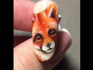 Красавица лисичка. Дизайн ногтей