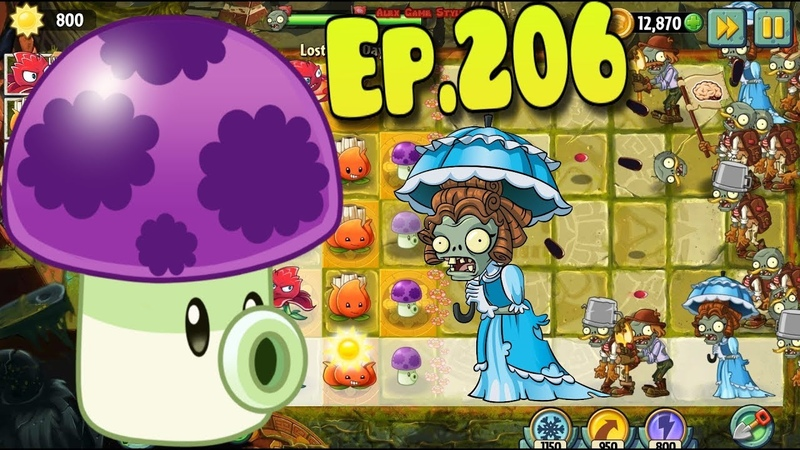 Plants vs Zombies 2 Puff shroom in Lost City Lost City Day 8 Ep 206