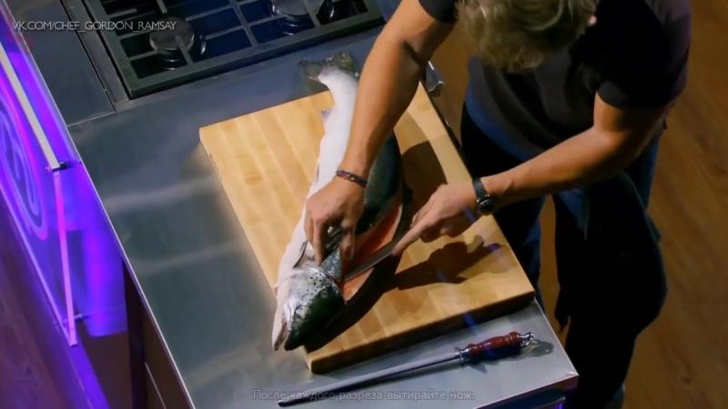 Как правильно разделывать лосось - мастер -класс от Гордона Рамзи