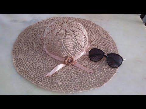 1° parte chapéu de praia em crochê