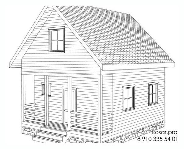 Каркасный дом с чердаком 5018