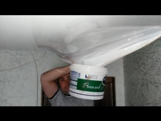 Как НЕ надо сливать воду с натяжного потолка