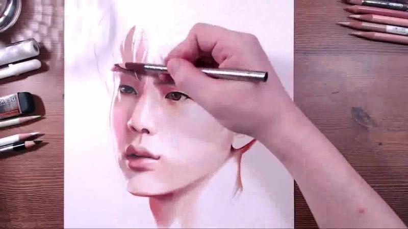 BTS - Jin - colored pencil drawing - drawholic.wmv