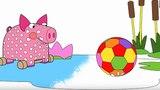 Раскраска - Деревяшки - Мячик - выпуск 10 - Учим цвета - Мультики малышам