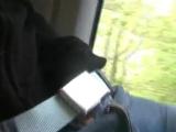 Девушка ласкает себя в поезде