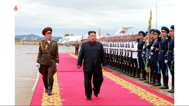 우리 당과 국가, 군대의 최고령도자 김정은동지께서 미합중국 대통령과의 력사적인 첫 상봉과 회담을 위하여 평양을 출발하시였다