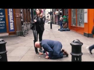 Mistress evilyne cruel engl femdom fed like a dog in public