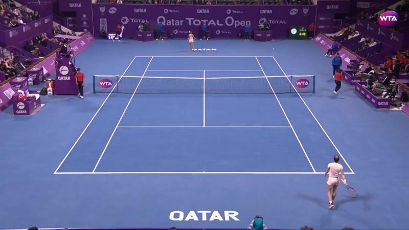 Теннис. WTA. Доха. Хард 2018 Беллис Катарина - Халеп Симона 0:2 (0:6, 4:6)