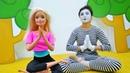 Clown and Barbie yoga challenge.