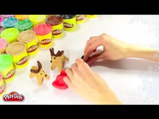 Как слепить Новогоднюю упряжку оленей из пластилина Play-Doh