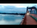 Огни Спасо Преображенского собора Панорама вечернего Рыбинска с моста через Волгу Июнь 2018